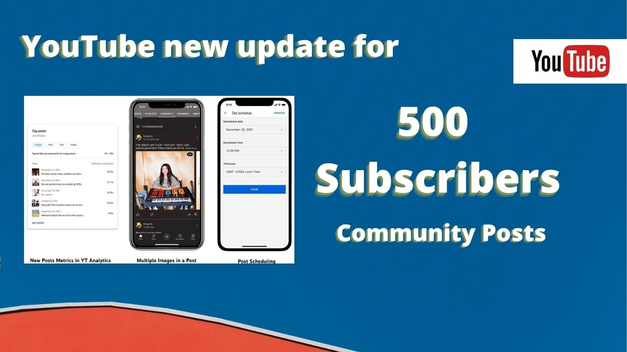 Youtube update community posts for 500 subscribers